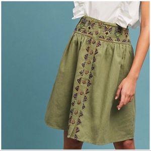 Maeve Anthropologie Green Utility Skirt